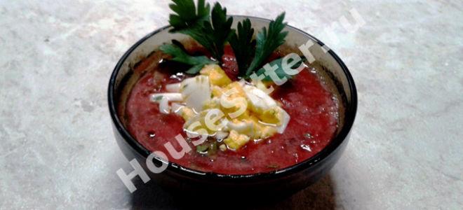Летний суп из томата и лука