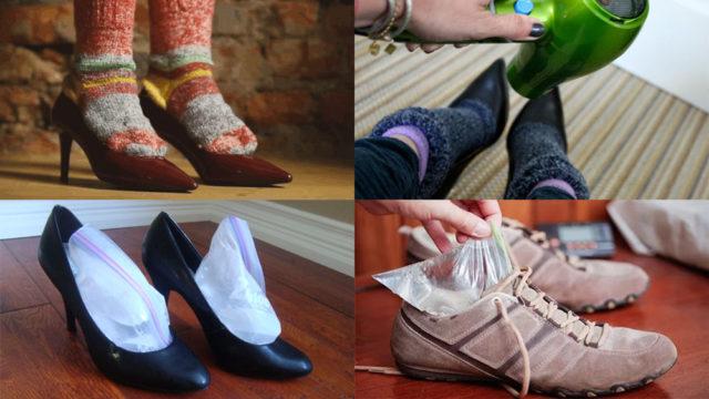 Носки на обуви, нагреваем туфли феном, замораживаем воду