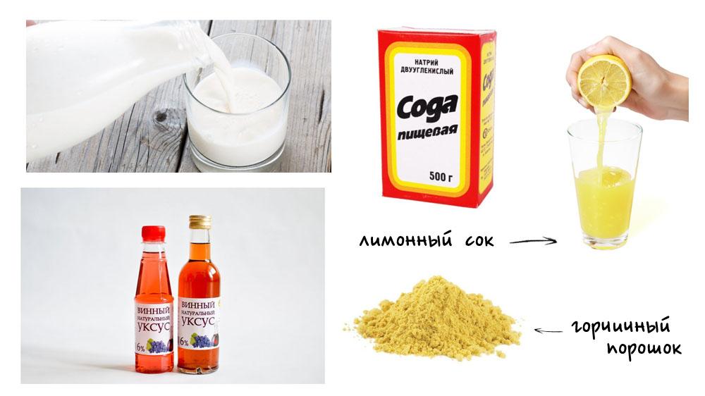 Молоко, сода, лимон, винный уксус, горчица