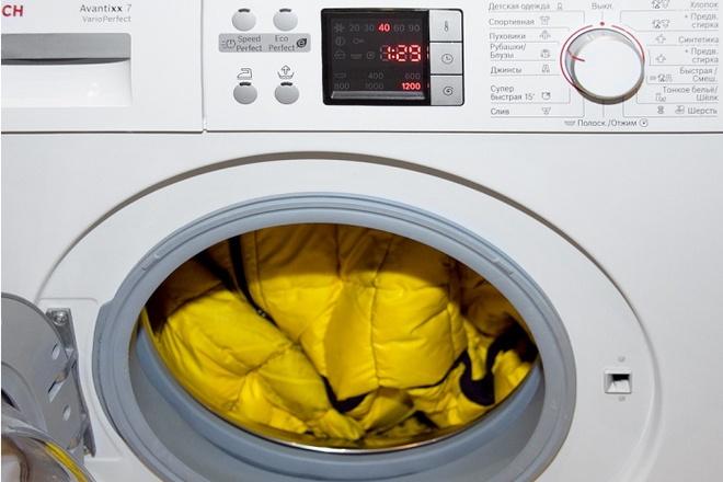 Пуховик в стиральной машинке