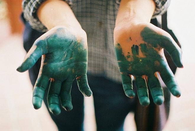 Зеленка на руках
