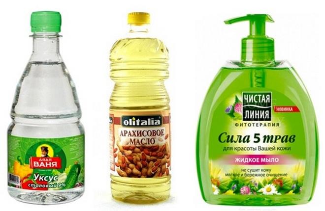 Уксус, арахисовое масло и жидкое мыло