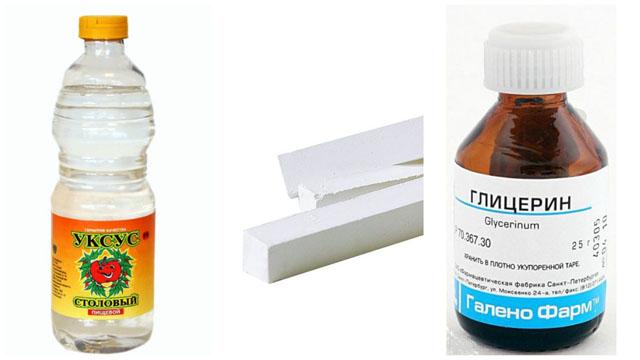 Уксус, мел и глицерин