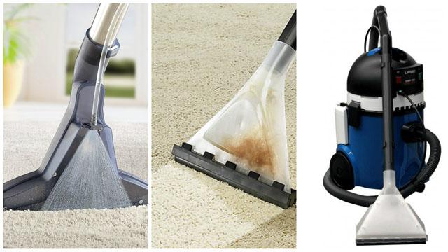 Коллаж моющий пылесос в действии