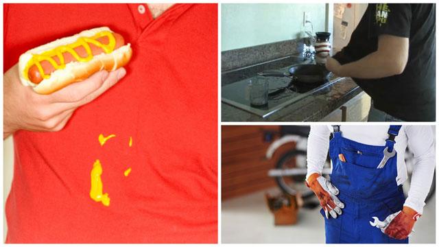 Еда на одежде, приготовление пищи, автомастерская