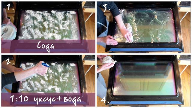 Коллаж чистка духовки с помощью уксуса и соды