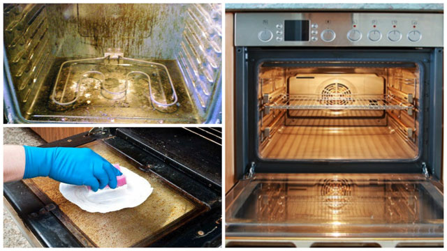 Коллаж грязная духовка чистка чистая духовка