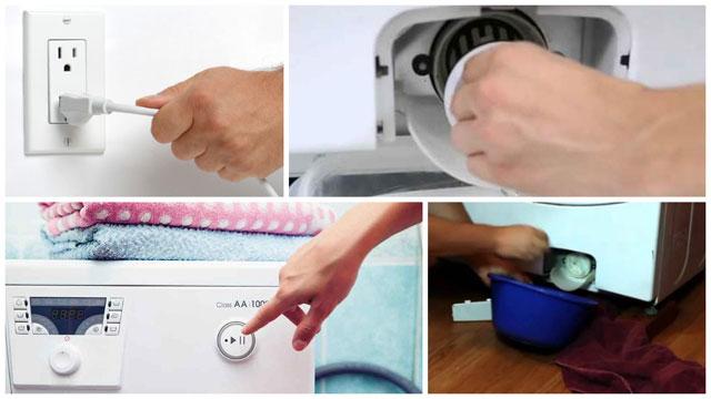 Коллаж действия при остановке работы стиральной машины