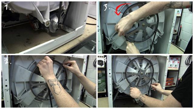 Коллаж замена ремня привода двигателя на стиральной машине