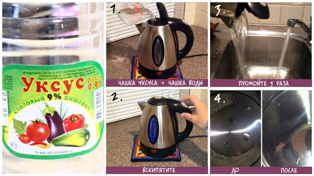 Уксусная кислота в борьбе против накипи на чайнике