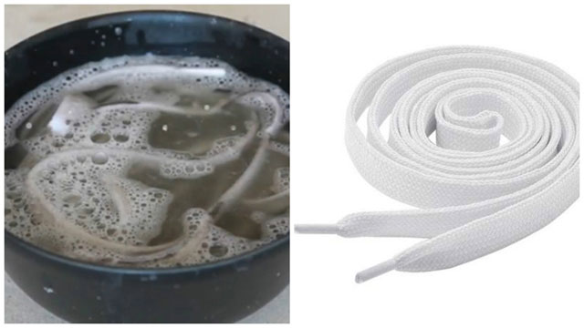 Замачивание белых шнурков