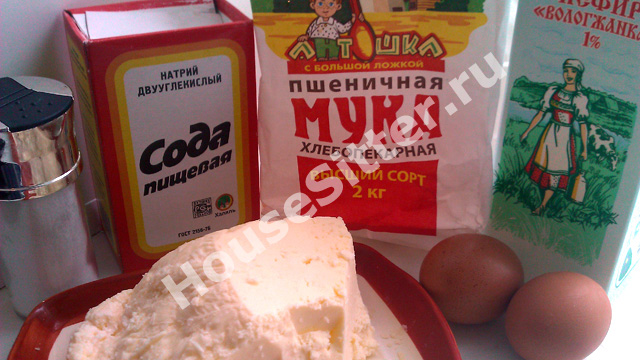Сода, мука, кефир, яйца