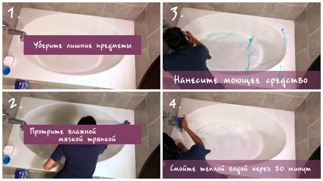 Чистка акриловой ванны моющим средством