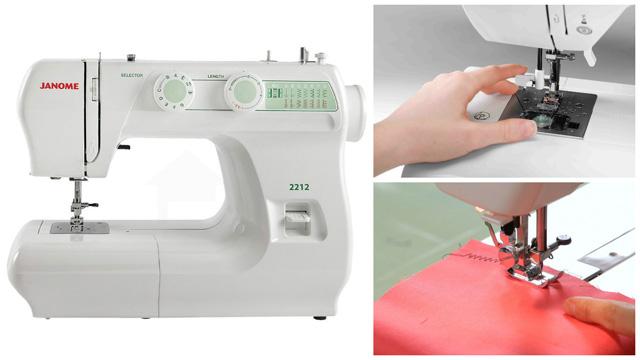 Коллаж швейная машинка вышивает на красной ткани