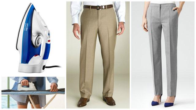 Женщина и мужчина в брюках, утюг