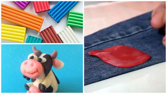 Разноцветные кусочки, корова, пластилин на джинсах