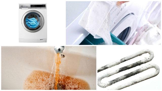 Стиральная машинка, порошок, ржавая вода, слой накипи