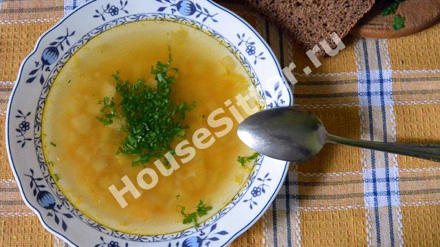 Рисовый суп с зеленью и кусочком ржаного хлеба