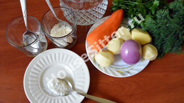 Очищенные овощи на тарелке