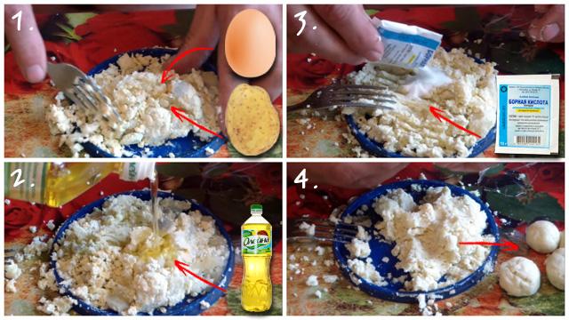 Комочки из яйца, картофеля и борной кислоты