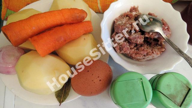 Картошка, яйцо, морковь, фарш, специи