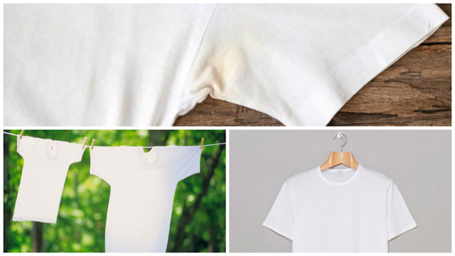 Желтые пятна от времени на белой одежде как вывести от фото