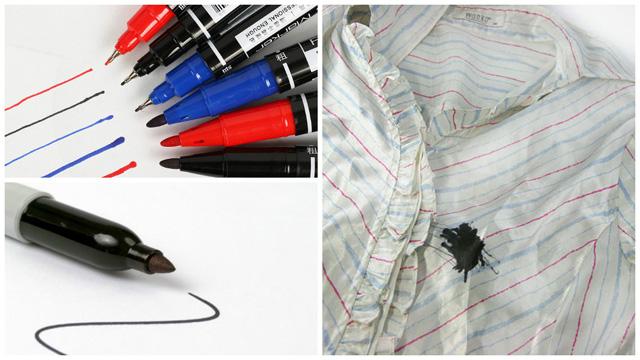 Клякса черного маркера на рубашке