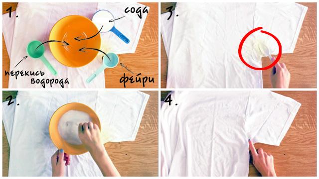 Сода и перекись водорода против желтоватых пятен на футболке