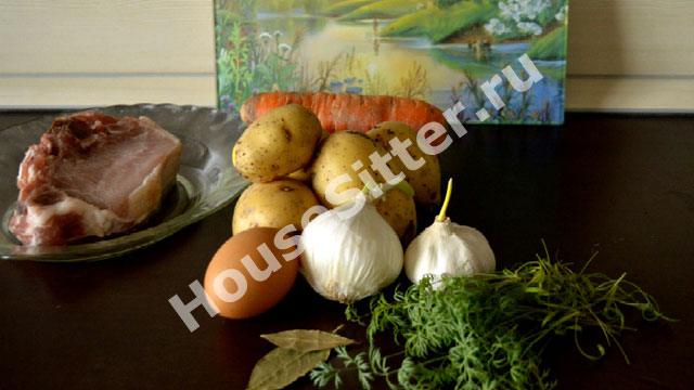 Картошка, чеснок, зелень, яйцо, морковь