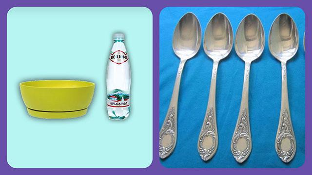Минеральная вода, тарелка, ложки