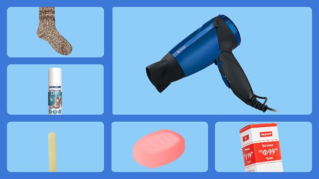 Электрический фен, молоко, носок, мыло