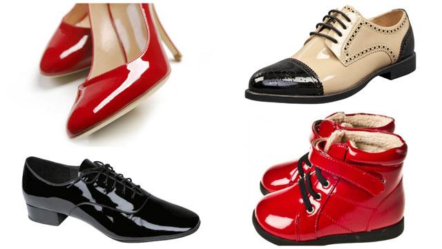 Женские туфли и мужские ботинки покрытые лаком