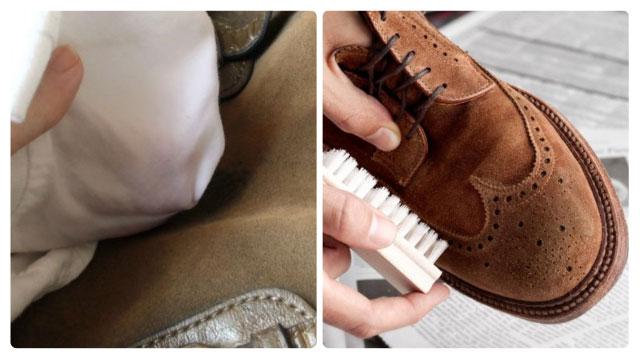 Чистим замшевые ботинки щёткой и тканевой салфеткой