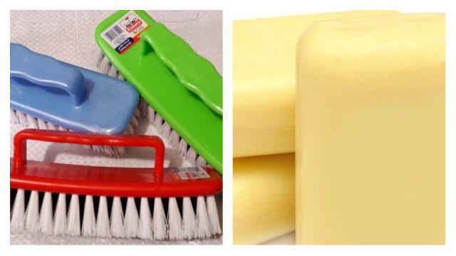 Разноцветный щётки и куски мылы