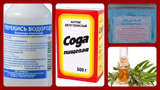 Сода, перекись водорода, медный купорос