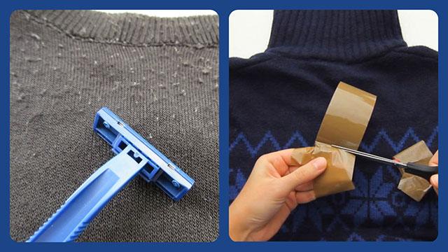 Избавляемся от катышек на свитере с помощью бритвы и скотча