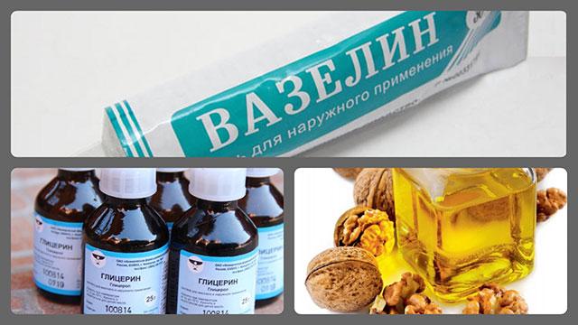 Вазелин, глицерин, ореховое масло