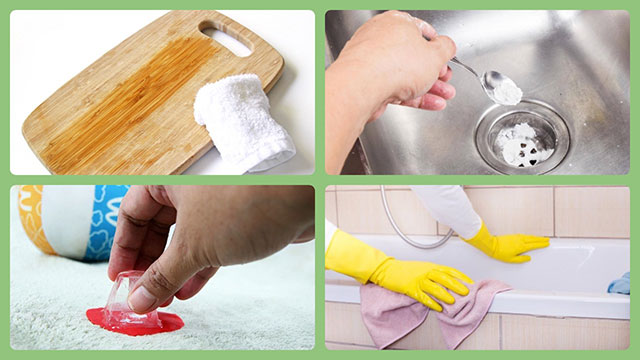 Разделочная доска, раковина, ванна, жвачка на ковре