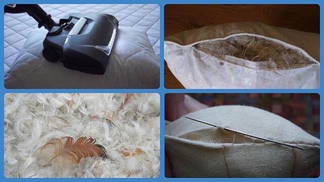 Пылесос, перья, подушка