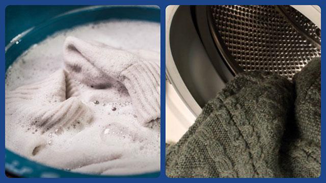 Шерстяная вещь в тазу и в стиральной машине