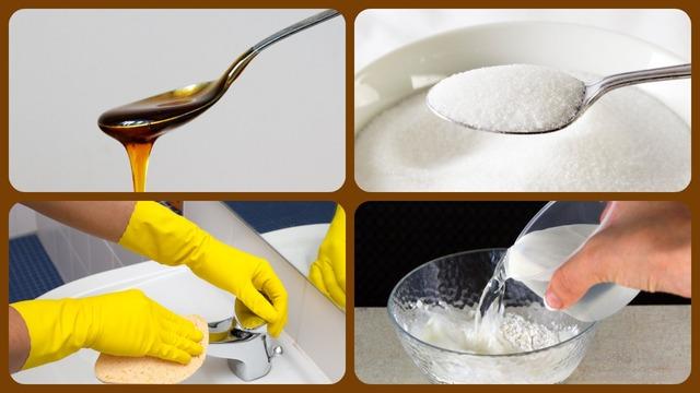 Ложка мёда, сахар, вода