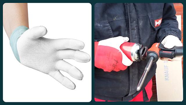 Защитные перчатки и пистолет монтажный