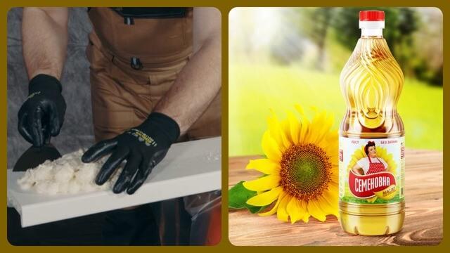 Удаляем пену растительным маслом