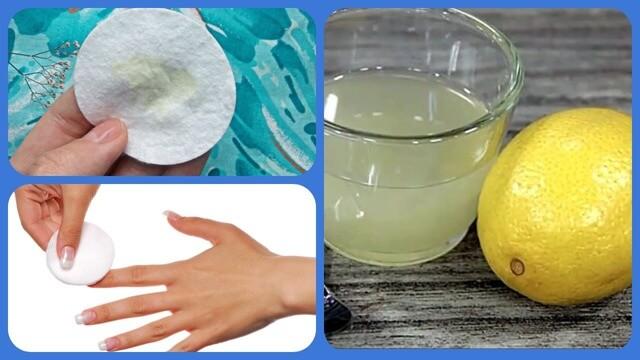 Лимонный сок на ногтях