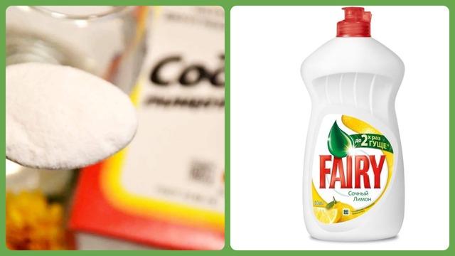 Сода, фейри, моющее средство для посуды