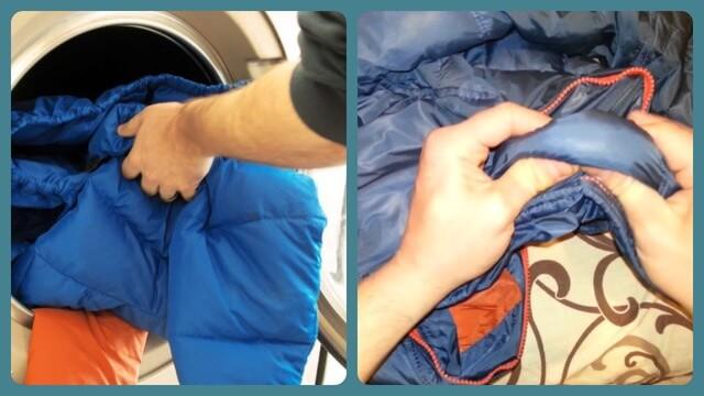 Загрузка верхней одежды в стиральную машину
